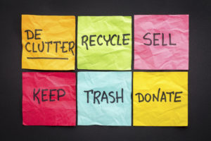 Categorized post-it notes for decluttering your home