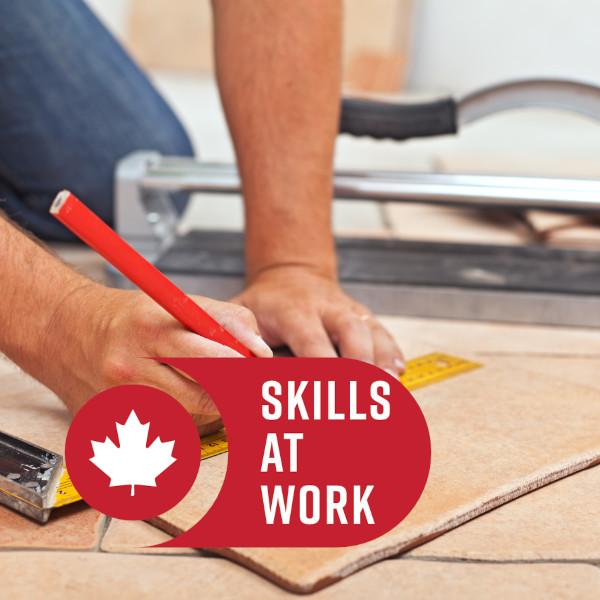 Over 55 Skills At Work - Man cutting floor tile